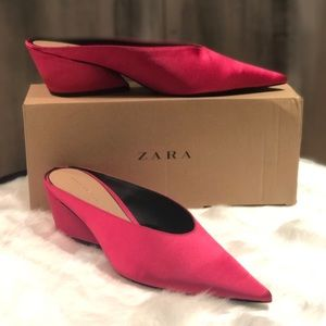 Zara Fuchsia Pointed Mules NIB Sz 9
